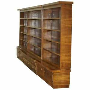 Enormous Mid Century Modern 500cm Wide Walnut Bookcase With Drawers