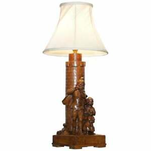 Rare Pied Piper Of Hamelin Black Forest Carved Wood Arts Crafts Table Lamp