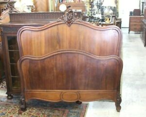 French Antique Carved Walnut Louis Xv Full Size Bed