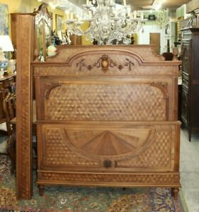 French Antique Carved Walnut Louis Xvi Full Size Bed Bedroom Furniture