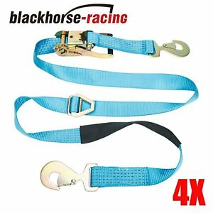 4x Axle Straps Race 8 Feet Car Trailer Car Hauler Ratchet Tie Down Flatbed Tow