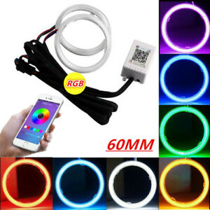 2x Rgb Colorful Cob Car Headlight Angel Eyes Light Led Halo Rings Lamp Kit 60mm