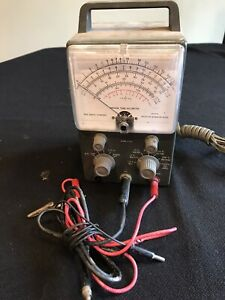 Heathkit Vacuum Tube Volt Meter With Test Probe Powers On Nice