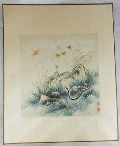 Antique Chinese Watercolor Paper Painting Mantis Butterfly Snake Signed Republic