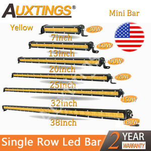 Amber Mini 7 13 20 25 32 38 Slim Led Work Light Fog Bar Single Row Bar