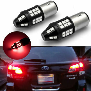 2pcs 1157 Bay15d Led Red 5 Time Flash Strobe Brake Light Bulbs Blinker 40 Smd