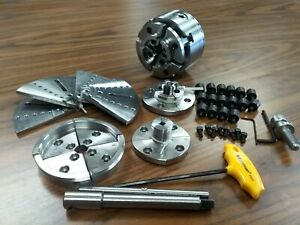 4 Wood Lathe Chuck Kit W 5 Sets Jaws Of Different Sizes 1 x8tpi Mounting 0404wd