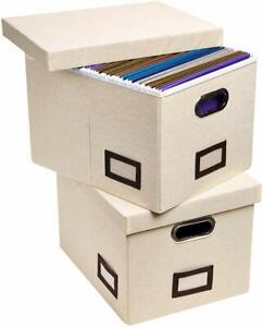 Superjare Updated File Box For Hanging Files Set Of 2 Storage Office Box With