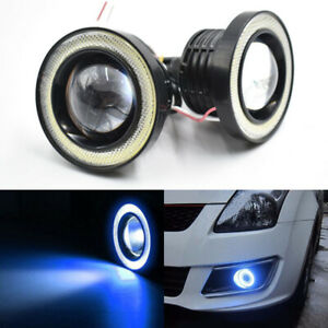 2x 3 5 89mm Universal Led Fog Light Blue Cob Halo Angel Eye Ring Car Drl Lamp