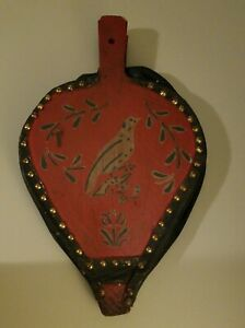 Fireplace Bellow Wood Metal Leather Red And Black With Bird Design Antique