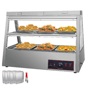 Commercial Food Warmer Court Heat Food Pizza Display Warmer Cabinet 43 glass Sus