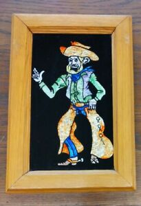 Cowboy Art Reverse Glass Foil Tinsel Painting Antique Wood Frame