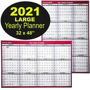 At a glance Pm326 28 2021 Yearly Planner Large Dry Erase Wall Calendar 32 X 48