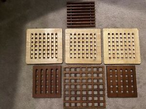 Set 7 Danish Modern Waffle Teak Wood Trivets Sculptural Scandinavian Eames Era