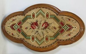 Antique Victorian Tapestry Quatrefoil Oval Table Centrepiece Tray Wall Panel