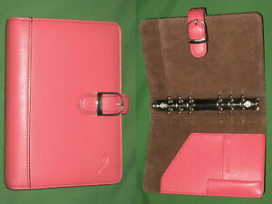 Portable 1 0 Pink Ribbon Leather Day Timer Planner Compact Franklin Covey