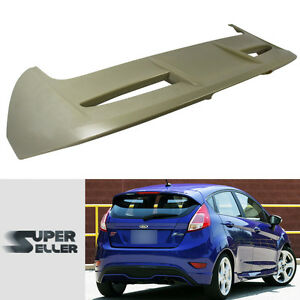 Unpaint Rear Trunk Spoiler With Led Light Fit For Ford Fiesta Hatchback Se St