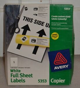 Avery Self adhesive Full sheet Shipping Labels For Copiers 8 1 2 X 11