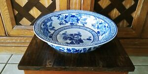 20thc Chinese Blue White Bowl Flower Birds Butterfly Heavy Width 11 5
