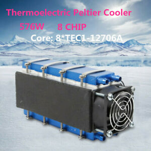 8chip Tec1 12706 Diy Thermoelectric Peltier Cooler 12v 576w Refrigeration Fan Us