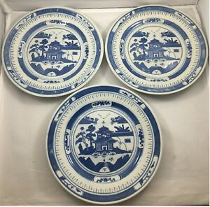 3 Chinese Export Blue White Canton Nanking 8 Plates