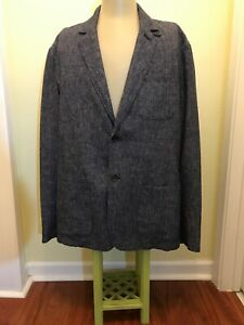 New Goodfellow Linen Two Button Men S Sport Coat Herringbone Blue Size Xl Ko5