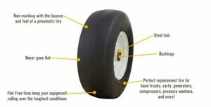 Two New 13x5 00 6 Flat Free Lawn Mower Smooth Tires With Steel Rim For Lawn Mow