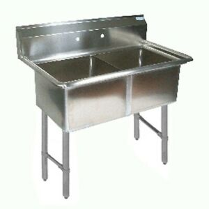 Bk Resources Bks 2 1620 12s All Stainless Sink 2 Comp No Drainboards
