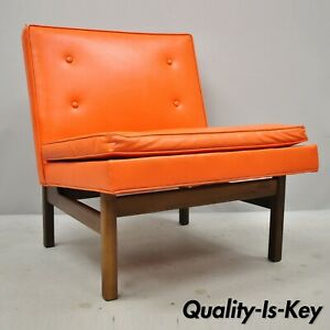 Orange Milo Baughman For Thayer Coggin Teak Vinyl Slipper Lounge Chair