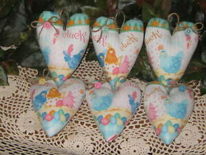 6 Easter Hearts Wreath Accents Tree Ornaments Country Chicken Home Decor