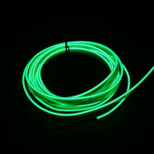 3m Car Led El Wire Cold Light Line Neon Lamp Interior Atmosphere Strip Green
