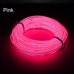 Pink 3m El Wire 12v Car Interior Decor Neon Strip Cold Led Light Lamp
