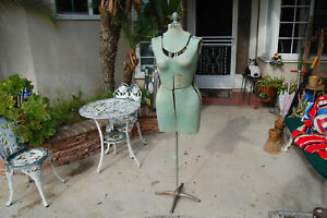 Vintage 40 s Rite Dress Form Adjustable Fabric Cast Iron Base Mannequin Stand