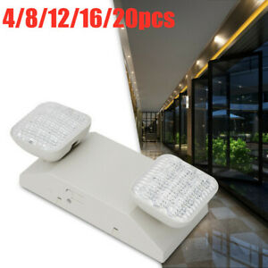 Led Emergency Exit Light Dual Head Hardwired With Battery Back Up Ultra Bright
