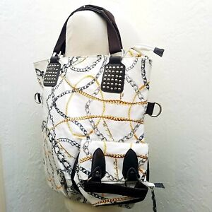 Nicole Lee Chain Inspired Print HUGE XL Studded White Tote Travel Bag $36.99