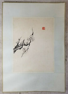 Antique Chinese Black Ink Watercolor Scroll Painting On Paper Signed Republic