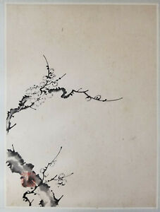 Antique Vintage Chinese Watercolor Ink Prunus Scroll Painting Republic Paper