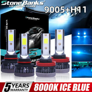 4pcs Mini Combo 9005 h11 Led Headlight Kit High Low Beam Bulbs Ice Blue 8000k