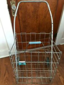Vintage Wire Flea Market Grocery Laundry Shopping Collapsible Pull Cart Basket