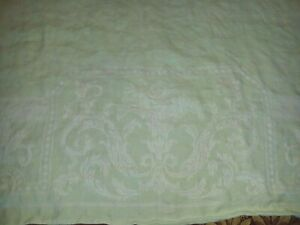 Vintage Irish Linen Mint Green And White Tablecloth 75 X 58 Napkins 8