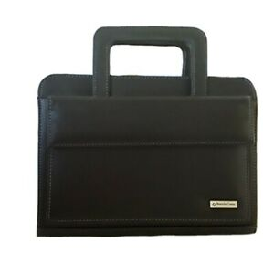 Franklin Covey 7 Ring Binder Organizer Zip Closure With Handles Black Leather