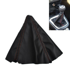 Black Universal Gear Shift Shifter Knob Gaitor Gaiter Boot Cover Nubuck Leather