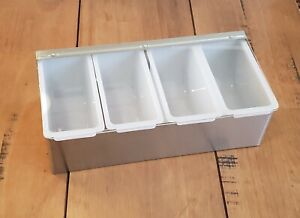 4 Pint Compact Fruit Tray Bar Home Garnish Center Stainless Condiment Caddy