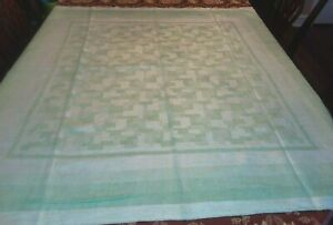 Vintage Irish Linen Green And White Tablecloth 50 X 50 Napkins 3