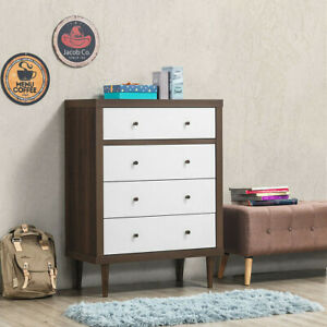 4 Drawer Dresser Wooden Chest Storage Freestanding Cabinet Bedroom Furniture New