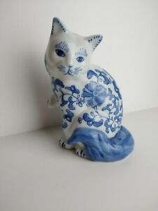 Vintage Blue And White Cat Porcelain 7 3 4 Tall 5 Wide China
