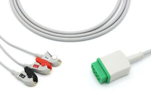 Ge Healthcare Vivid 7 11 Pin 3 Leads Grabber Ecg Cable Same Day Shipping