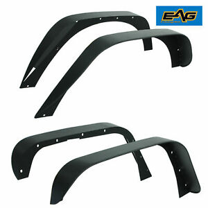 Eag Fits 07 18 Jeep Wrangler Jk Steel Flat Stubby Front And Rear Fender Flares