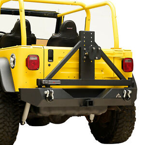 Paramount Rear Bumper W surgrip Lock Tire Carrier Fits 87 06 Jeep Wrangler Tj Yj