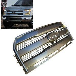 For 15 17 Ford F150 Painted Gray J7 King Ranch Style Front Bumper Grille Replace